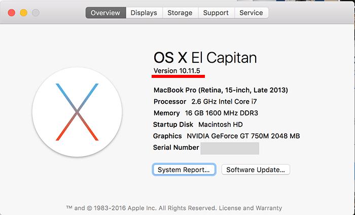 OS X EL Capitan 10 11 5 2