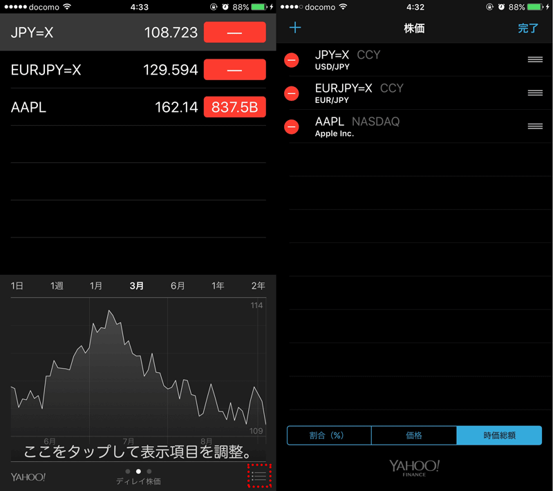 IPhoneで為替の円安円高と株価をチェックする方法 4